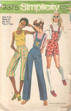 Simplicity 9375 Vintage Sewing Pattern Young Junior/Teen Pants Capris, Shorts, Overalls with D Bib Pattern, Retro Pattern, Vintage Sewing Patterns, Pants Pattern, 60s And 70s Fashion, Retro Fashion, Vintage Fashion, Fashion 2018, Patron Simplicity