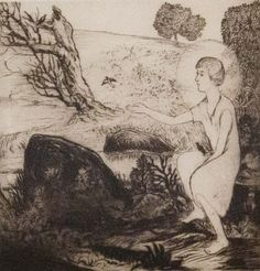 Mukul Dey, Indian 1895-1989- ''The Boy Jesus give Life to Clay Birds'', 1927; dry point etching, signed in pencil