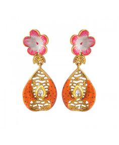 Women's Fashionable Kundan Polki Copper Earrings_Orange5