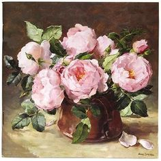 Notebook with English Roses on cover - print taken from the original oil painting by Anne Cotterill #OilPaintingFlowers
