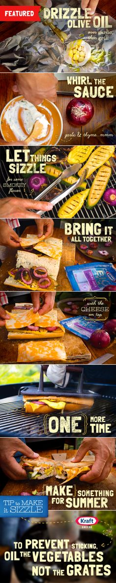 KRAFT Cheese Summer Grilling Recipe: Take your fresh summer vegetables and grill them into a fresh, flavorful Grilled Garden Sandwich.