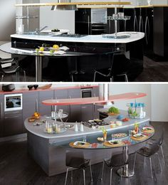 Many manufacturers are producing rounded counters, but their image collection helps illustrate the space-creating possibilities of curving surfaces out beyond the appliances, cabinets and shelves below them.