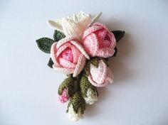 Lace knitting rose and lily corsage corsage mail order | Creema handmade / handmade craft site Crochet Brooch, Freeform Crochet, Crochet Motif, Irish Crochet, Crochet Doilies, Crochet Stitches, Knit Crochet, Crochet Earrings, Lace Knitting