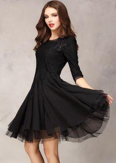 Black Half Sleeve Lace Bead Chiffon Dress