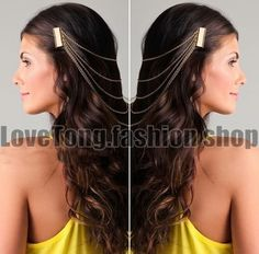 New Ladies Silver Metal Chain Fringe Tassel Hair Comb Cuff Women Head Hairband