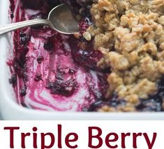 The easiest Triple Berry Crisp made with frozen berries for a juicy berry filling nestled under a crispy oat topping. Cookie Recipe Without Baking Soda, Plain Cookie Recipe, Simple Cookie Dough Recipe, Cookie Recipes For Kids, Sugar Cookie Recipe Easy, Easy Christmas Cookie Recipes, Healthy Cookie Recipes, Oatmeal Cookie Recipes, Cookie Icing