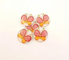 """5 Butterfly Buttons. Pink Polka Dot and Orange  Butterfly Handmade Buttons for sewing. 3/4"""" or 20 mm."""