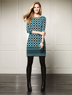 Get graphic!  #wearwhatworks #whbm #fall-LOVE their tunics w/black leggings and boots or heels! Comfortable and classy!