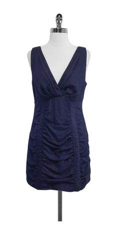 Nanette Lepore Navy Gathered Sleeveless Dress