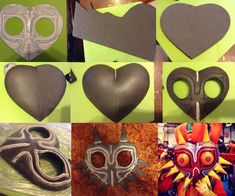 I had a lot of people ask me how I obtain the right form of my mask, so I decide to have a little p Link Cosplay, Cosplay Diy, Diy And Crafts, Crafts For Kids, Paper Crafts, Pixel Art Objet, Majora Mask, Zelda Birthday, Hallowen Ideas