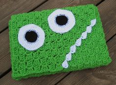 Green Monster Crocheted Laptop Cover for 13 inch Macbook.