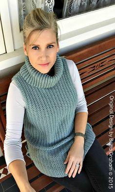 Easy Hi-Lo Cowl Neck Tunic Crochet Pattern by bubnutPatterns westen häkeln Easy Hi-Lo Cowl Neck Tunic Crochet Pattern - Sleeveless Ladies Sweater Vest Pattern Digital Pattern English Crochet Vest Pattern, Tunic Pattern, Crochet Cardigan, Knit Crochet, Baby Boy Knitting Patterns, Sleeveless Tunic, Crochet Clothes, Cowl Neck, Sweaters For Women