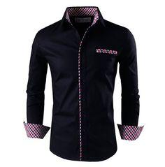 Tom's Ware Mens Premium Casual Inner Layered Dress Shirt TWNMS310S-1-BLACK-S