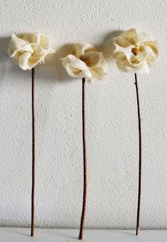 Burlap Flowers with Stems