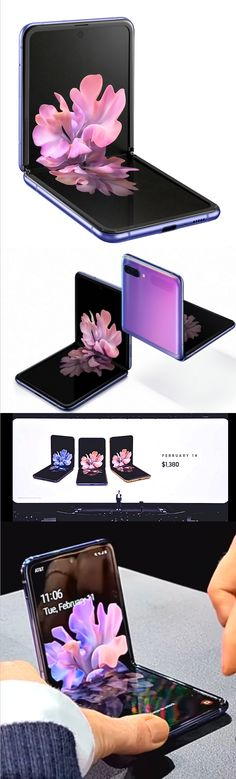Introducing Galaxy Z Flip. A whole new kind of foldable phone with the first folding glass screen and advanced hinge that lets you freestop fold. Flexible Display, Low Angle Shot, Galaxy Phone, Samsung Galaxy, Smartphone Features, Purple Mirror, Thing 1, Display Technologies, Cool Tech