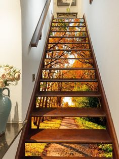 Autumn Trees Path 1457 Stair Risers - New Deko Sites Escalier Art, Tree Wallpaper Living Room, Stairway Art, Marble Stairs, Floating Staircase, Staircase Ideas, Home Stairs Design, Decoration Photo, Stair Stickers