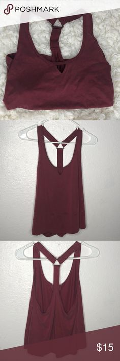 Maroon loose fitting tee Those are wet spots on the second pic (not stains) (only worn once) Forever 21 Tops Blouses