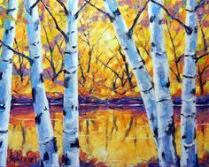 Morning Sparkle Birches created by Prankearts. oil on canvas