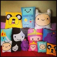 "@blisstopia's photo: ""Restocked Adventure Time 12x12 Embroidered Pillows! Contact me for inquiries: 09234251051/09278611478 Viber/Kakaotalk/Line: Blisstopia #adventuretime #embroidered #pillow #finn #jake #princessbubblegum #marceline #lsp #beemo #bmo #theiceking"""