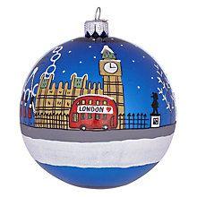 Buy Bombki London Sky Glass Hanging Decoration, Blue Online at johnlewis.com