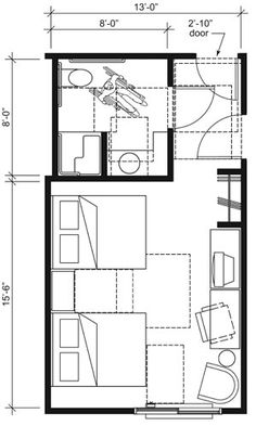 This drawing shows an accessible 13-foot wide guest room with features that comply with the 2010 Standards. Features include a transfer shower, comparable vanity, open clothes closet, and door connecting to adjacent guest room. Furnishings include two beds.