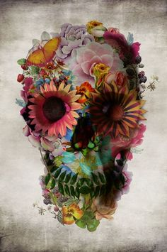 Love the watercolor aspect of it but not a lover of skulls (: