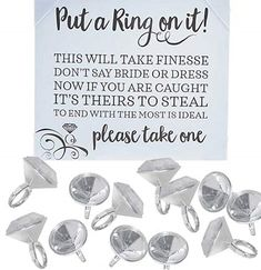 """Watch your words for a challenging game of Put a Ring On It! Compete to acquire the most rings and keep your own at the bridal shower or bachelorette party by avoiding the words """"dress"""" and """"bride""""!"""