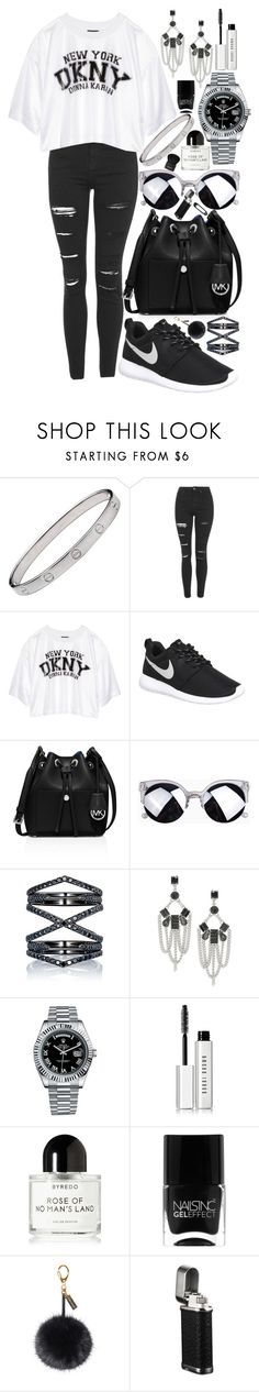 """""""ANTi"""" by loveselena22 ❤ liked on Polyvore featuring Cartier, Topshop, DKNY, NIKE, MICHAEL Michael Kors, Eva Fehren, ABS by Allen Schwartz, Rolex, Bobbi Brown Cosmetics and Byredo"""