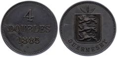 KATZ Guernsey 4 Doubles 1885 H KM#5 Luster XF MKH