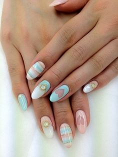 heart pink and blue nails