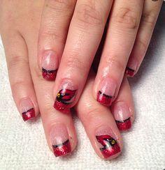 Go Cardinals!   Gel polish arizona cardinals nails!