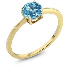 10K Yellow Gold 090 Ct Round Swiss Blue Topaz Gold Solitaire Engagement Ring Size 56789 * You can get more details by clicking on the image.