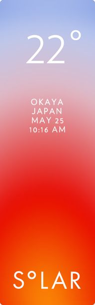 岡谷市 weather has never been cooler. Solar for iOS.