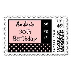 30th Birthday Black Pink Polka Dot Custom Name Stamp This polka dot design makes a fun30th birthday stamp. Customize with the birthday person's name and birthday party date!...read more