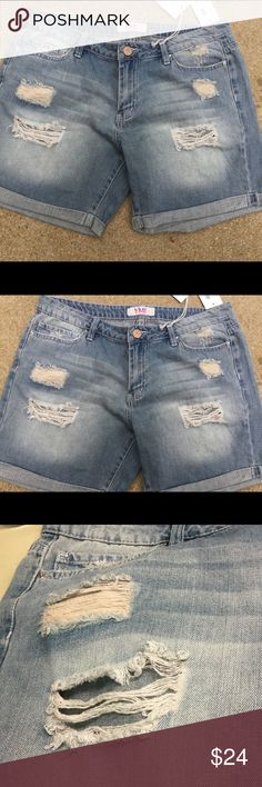"""YMI FESTIVAL LOVE boyfriend distressed jeans NWT 100% cotton ..all torn worn and distressed ..all new with tags...size s measures 33"""" waist...5"""" inseam....size 9 measures 36"""" waist..5"""" inseam....size 11 measures 36"""" waist..5"""" inseam...size 13 measures 38"""" waist...5"""" inseam YMI Shorts Jean Shorts"""