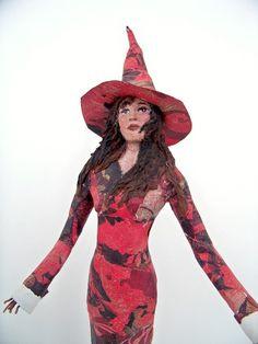 paper mache witch sculpture tree topper