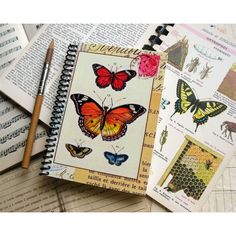 Butterflies A6 Spiral Notebook, Spiral Bound Writing Journal,... (58 PLN) ❤ liked on Polyvore featuring home, home decor and stationery