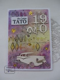 Mixed Media Father's day card by by Mediowa kartka na Dzien Taty o wymiarach by by Vintage Dior, Chipboard, Cardmaking, Mixed Media, Passion, Stickers, Stars, Handmade, Hand Made