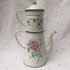 Rarest ever  Old French ENAMELWARE JAPY COFFEEPOT Lge Rose