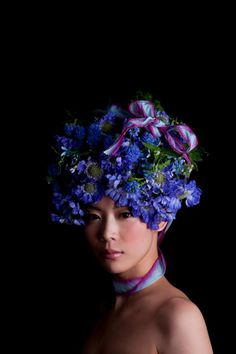 Stunning floral 'hairdressing' by Japanese artist Takaya Hanayuishi: Roses are red, Violets are blue