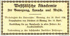 Original-Werbung/ Anzeige 1926 - WESTFÄLISCHE AKADEMIE FÜR BEWEGUNG, SPRACHE UND MUSIK - MÜNSTER - ca. 90 x 45 mm