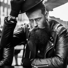 Gwilym Pugh - beautiful full thick beard and mustache beards bearded man men mens' style fashion clothing leather jacket hats winter dapper bearding #beardsforever