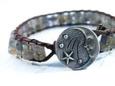 Moon and Stars Labradorite Blue Gray Leather Wrap by GloryGift, $40.00