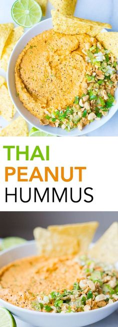 Thai Peanut Hummus: A simple homemade hummus recipe that's filled with Thai peanut sauce ingredients like Sriracha, garlic, and ginger! A healthy gluten free and vegan snack! || http://fooduzzi.com recipe