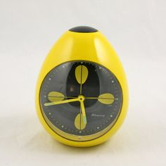 POP 1960s BLESSING yellow lotus EGG alarm clock W by somelikeus, $65.00