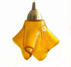 Amber Golden Glass Mini Pendant Light Fixture.