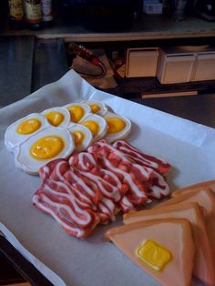 Breakfast Themed Sugar Cookies - Fried Eggs, Bacon, and Buttered Toast