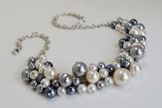 Pearl Cluster Necklace Ivory Gray and Pewter Chunky by Eienblue, $26.00