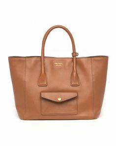 Saffiano Cuir Pocket Tote Bag, Brown by Prada at Neiman Marcus.