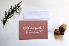 Will you be my bridesmaid? Printed card of my original hand lettering art. Color: Blush pink and white Dimensions: Professionally printed on matte card stock. Comes with a white envelope. Shipped in a cellophane sleeve in a rigid mailer envelope. Be My Bridesmaid Cards, Will You Be My Bridesmaid, Hand Lettering Art, Letter Art, White Envelopes, Blush Pink, Card Stock, Minimalist, Place Card Holders